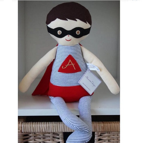 Large Superhero Doll - Grey & Red - piper-and-dune - Baby + Kids