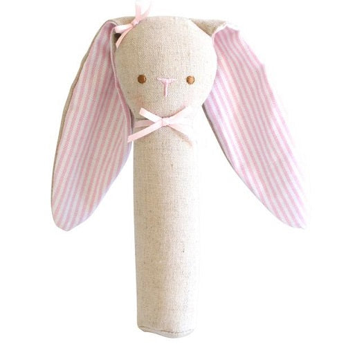 Floppy Bunny Ears Rattle & Squeaker Linen-Pink - piper-and-dune - Baby + Kids