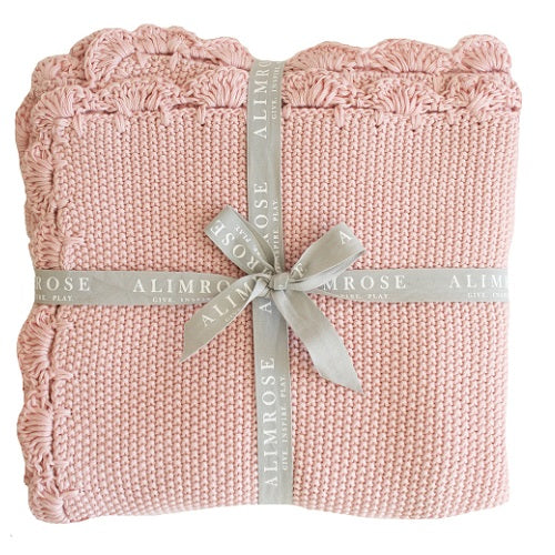 Organic Cotton Mini Moss Stitch Blanket - Dusty Rose - piper-and-dune - Baby + Kids