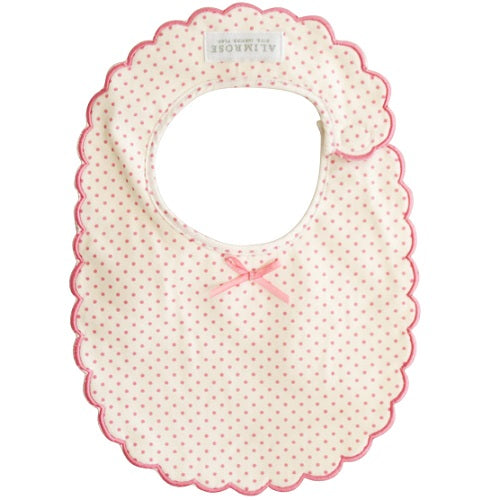 Scallop Edge Bib - Spot Pink - piper-and-dune - Baby + Kids
