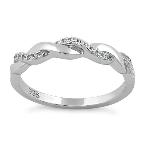 Sterling Silver Braided Clear CZ Ring - piper-and-dune - Jewelry
