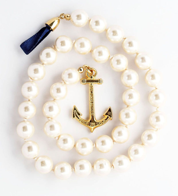 Valerie Pearl Anchor Necklace by Kiel James Patrick - piper-and-dune - Jewelry