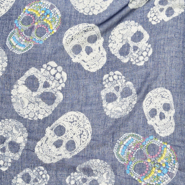 Sugar Skull Scarf with Tassels - Blue or Taupe - piper-and-dune - Women's Accessories