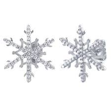 Sterling Silver Unique Snowflake Clear CZ Earrings - piper-and-dune - Jewelry