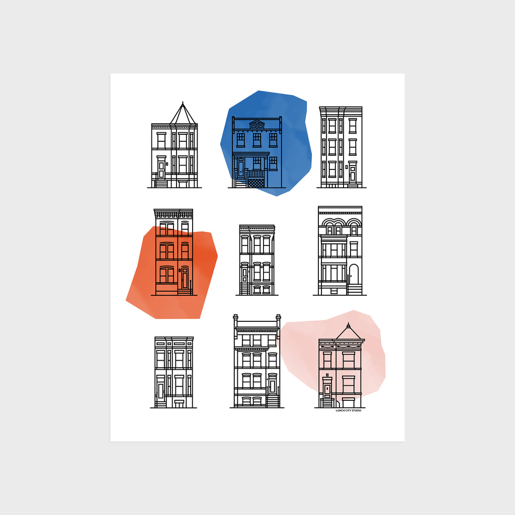"Washington DC Row Houses Print 8"" x 10"""