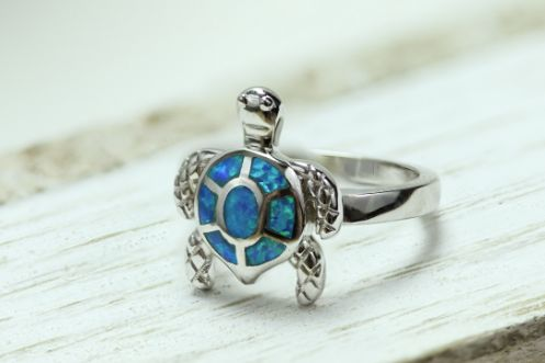 Sterling Silver Turtle Blue Lab Opal Ring - piper-and-dune - Jewelry