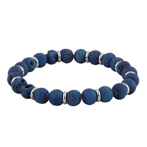 Stainless Steel Blue Druzy Bead Bracelet