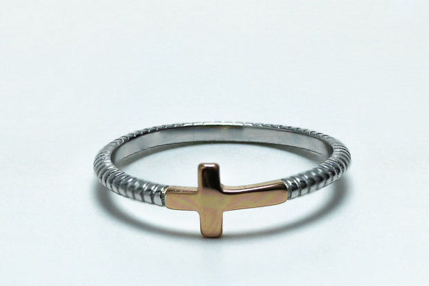 Sterling Silver Rose Gold Two Tone Cross Ring - piper-and-dune - Jewelry