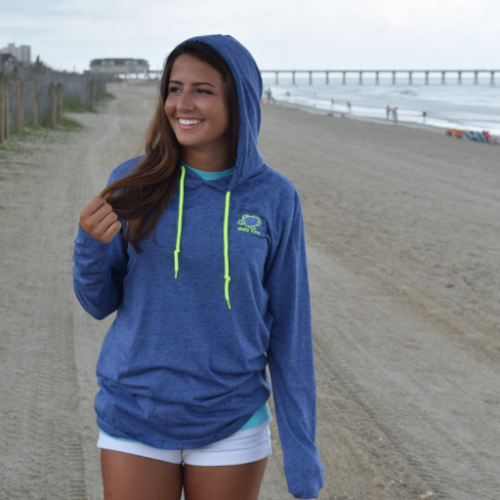 Embroidered Heather Blue Lightweight Hooded T-Shirt - Unisex | Shelly Cove