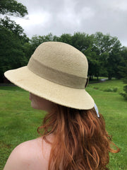 Cloche Hat with Tonal Linen Trim