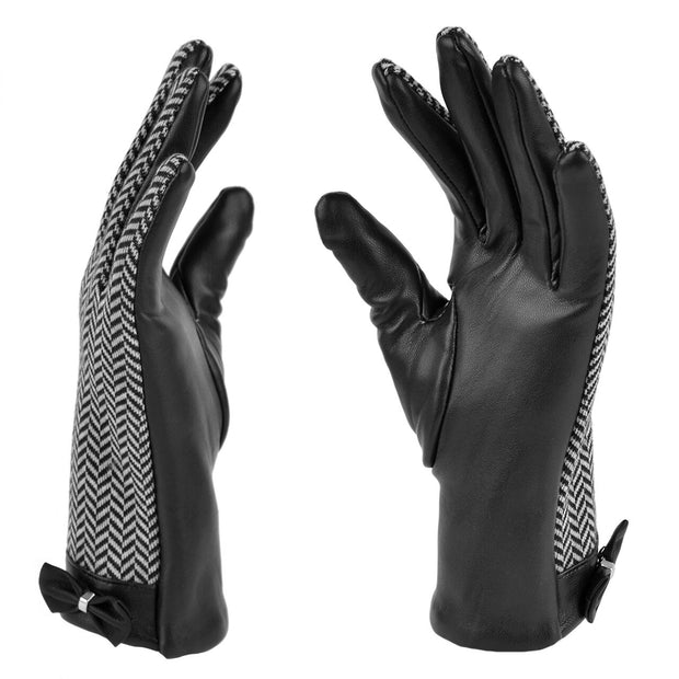 Women's Chevron Leather Gloves - Touch Screen Compatible