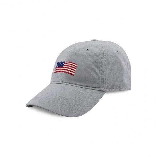 American Flag Needlepoint Hat -Nantucket Red