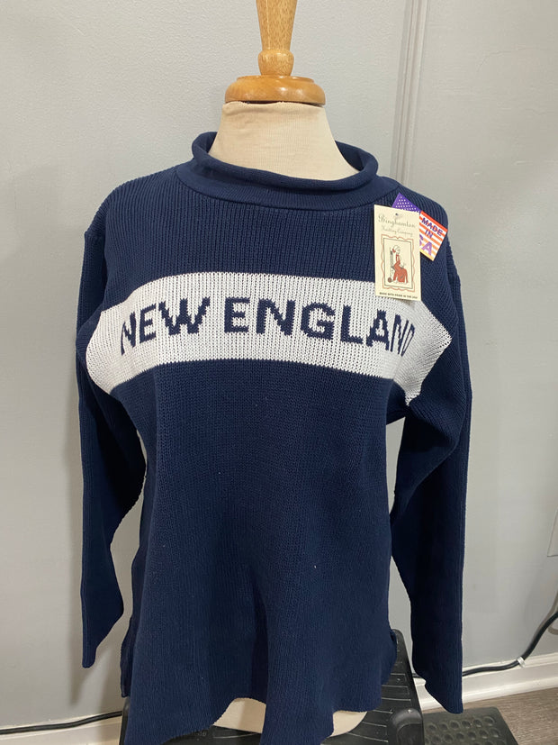 New England Sweater - Navy Blue with White Stripe