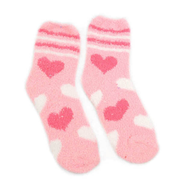 Assorted Women's Heart Warm Fuzzy Socks- Includes 3 Pairs