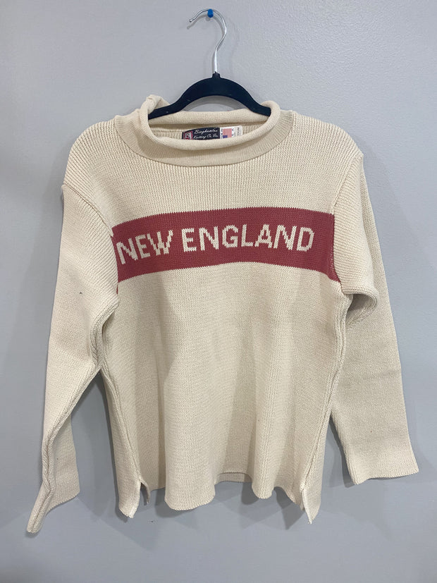 New England Sweater - Natural with Nantucket Red Stripe