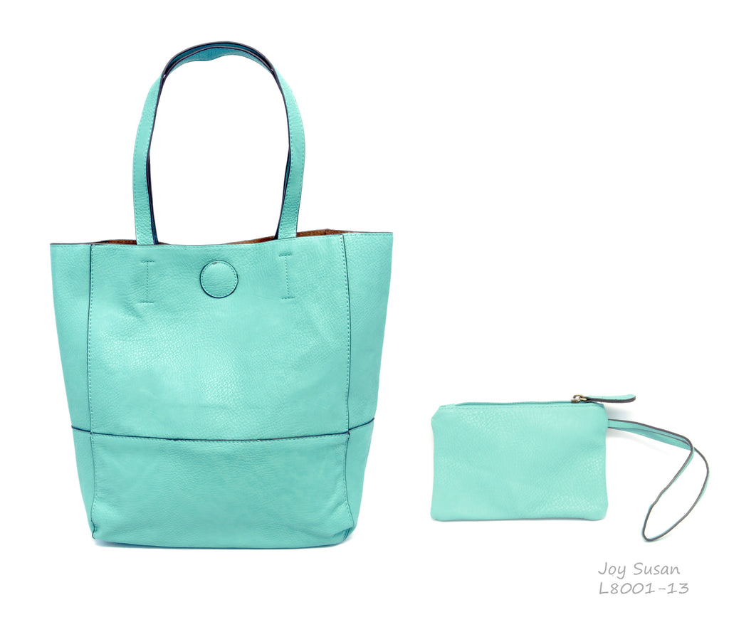 Raw Edge Handbag with Coin Purse - 2 Colors