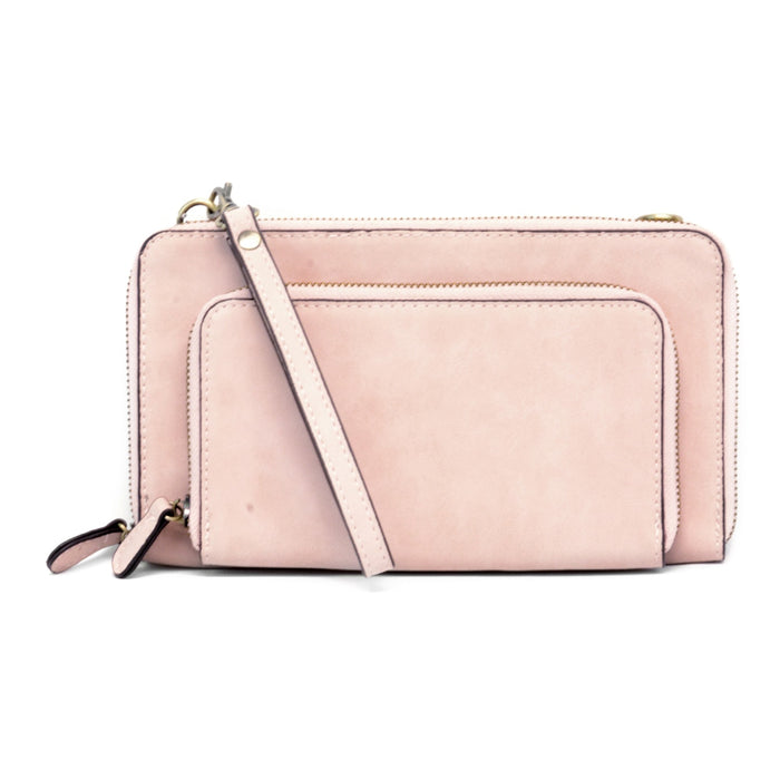 Brushed Mini Convertible Zip Wristlet - 2 Colors!