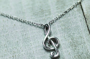 Sterling Silver Treble Clef Necklace - piper-and-dune - Jewelry