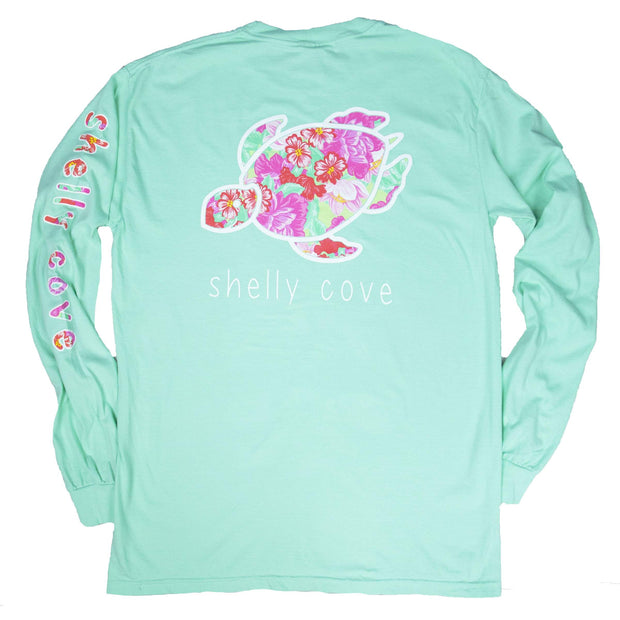Pretty Posy Long Sleeve T-Shirt - Mist | Shelly Cove