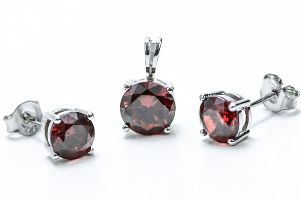 Sterling Silver Garnet CZ Set