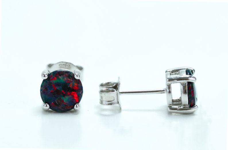 Sterling Silver Round Rainbow Lab Opal Stud Earrings - piper-and-dune - Jewelry