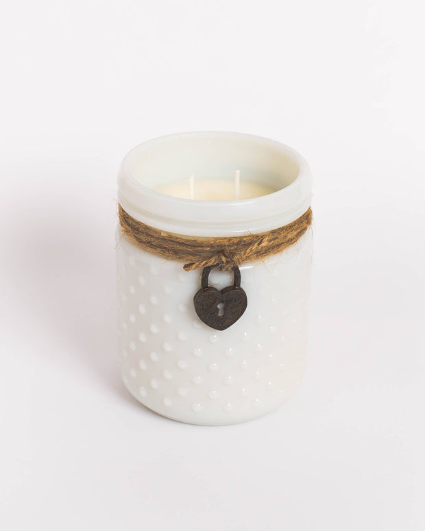 White Vintage Soy Candle in Hobnail Jar with Heart Locket