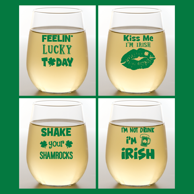 St. Patrick's Day Shatterproof Wine Glasses | Wine-Oh! - 4PK