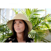 Natural Mixed Cloche Hat with Matching Trim
