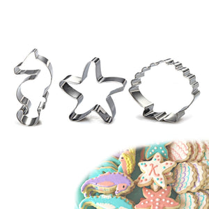 Under the Sea Cookie Cutter Sea - 3pcs - Stainless Steel - Crafty Cookie Cutters