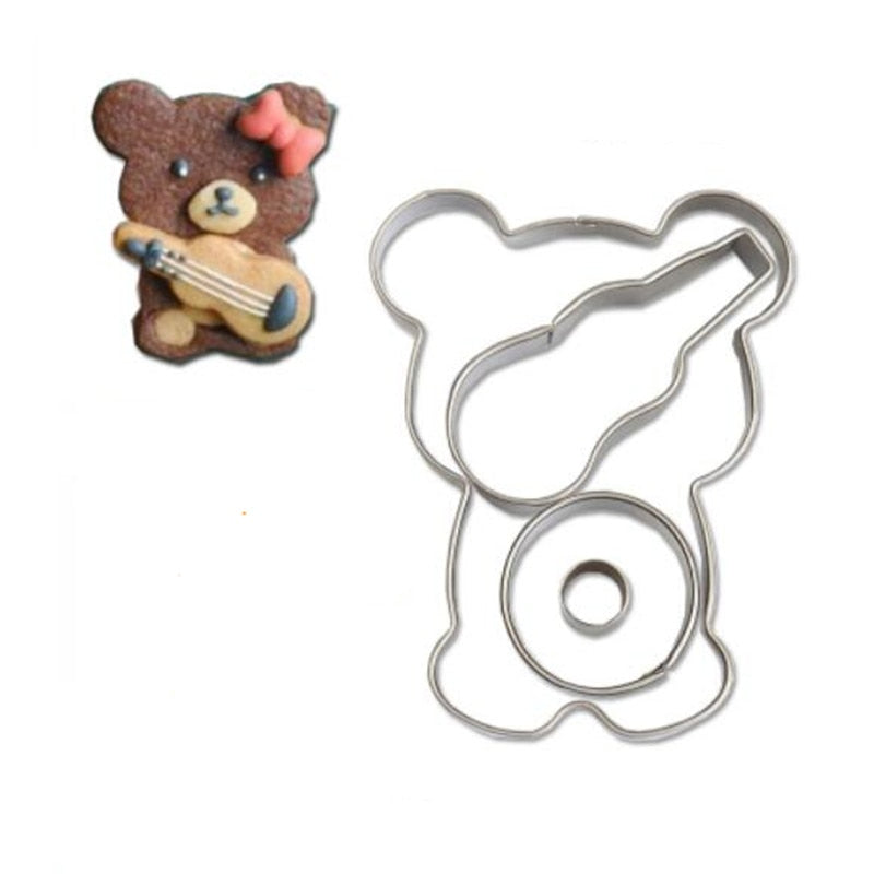 Banjo Bear Cookie Cutter Set - 7cm - Stainless Steel - Crafty Cookie Cutters