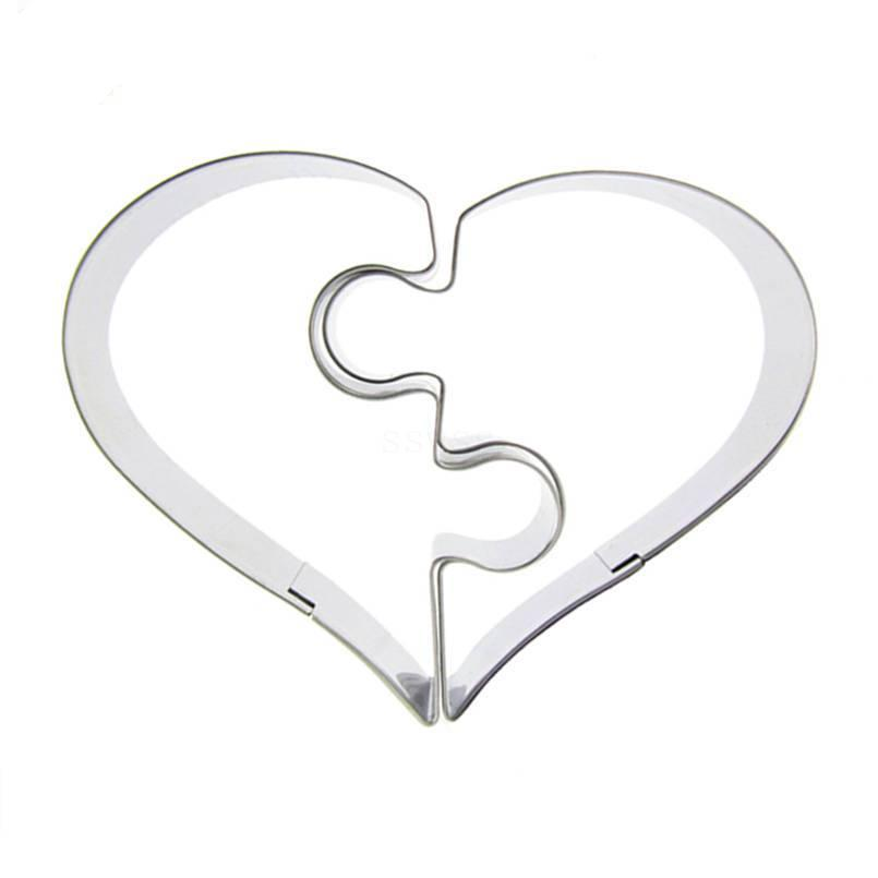 Heart Puzzle Cookie Cutter Set - 2pcs - 7cm - Stainless Steel - Crafty Cookie Cutters