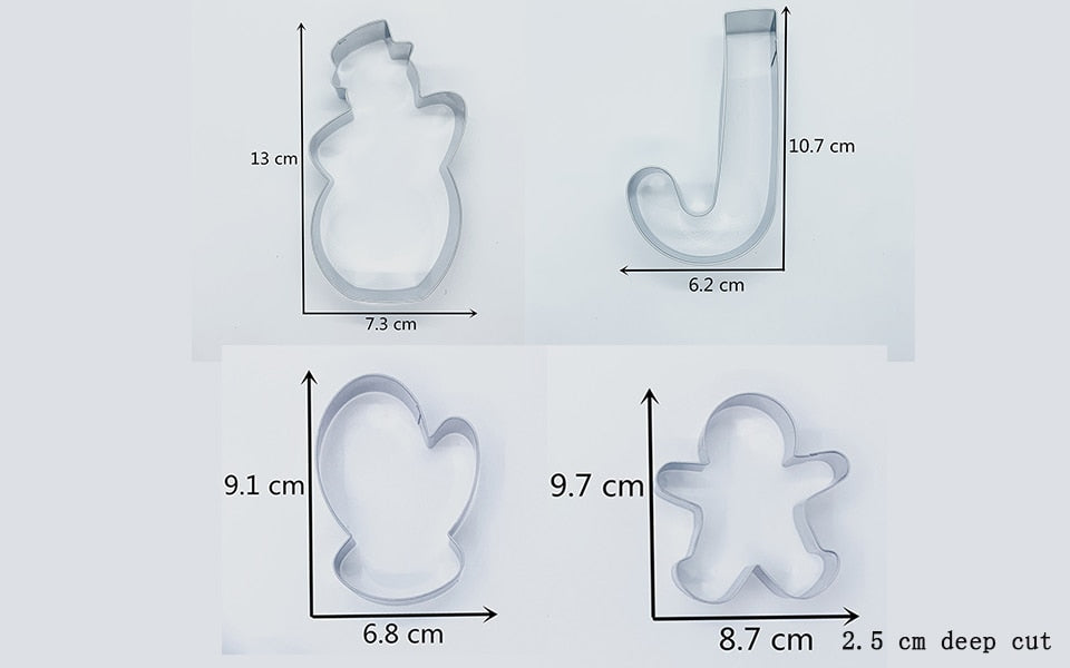 Christmas Party Cookie Cutter Set - 8pcs - Stainless Steel - Crafty Cookie Cutters