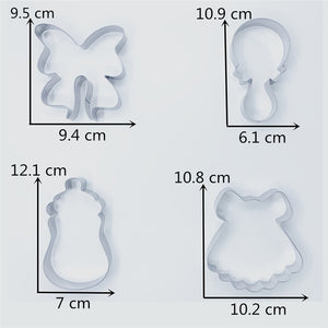 Girl Baby Shower Cookie Cutter Set - 6pcs  -Stainless Steel - Crafty Cookie Cutters