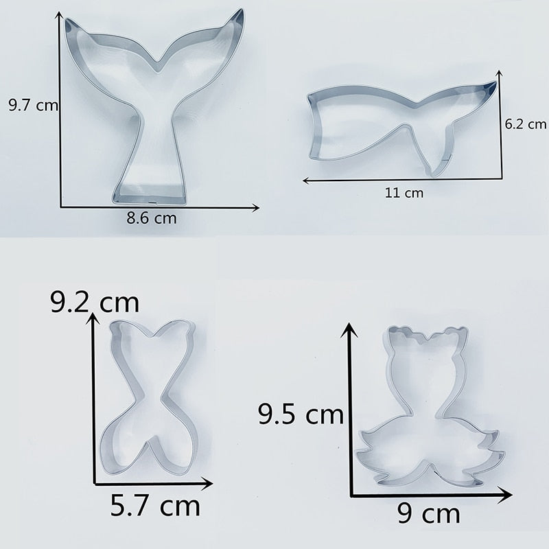 Mermaid Tail Cookie Cutter Set - 4pcs -Stainless Steel - Crafty Cookie Cutters