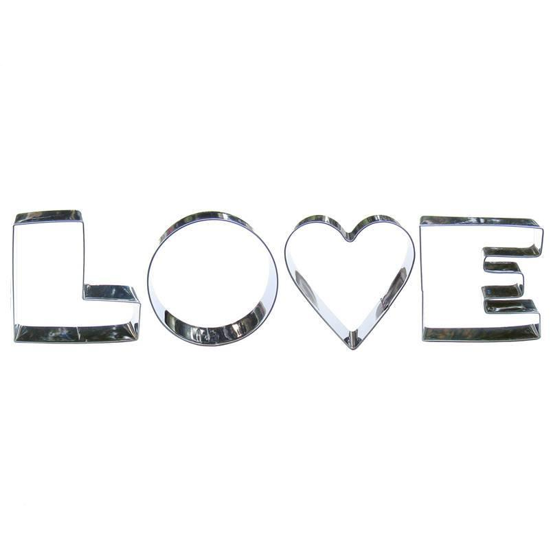 Love Cookie Cutter Set - 4pcs - Stainless Steel - Crafty Cookie Cutters