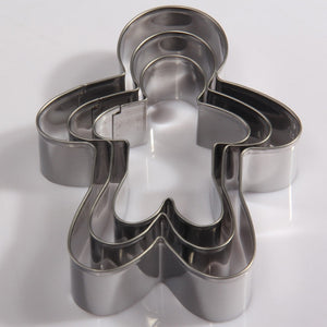 Gingerbread Man Cookie Cutter Set - 3pcs - Stainless Steel - Crafty Cookie Cutters