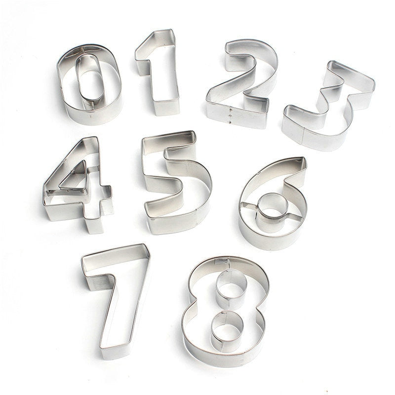 Numbers Cookie Cutter Set 9Pcs - 8cm - Stainless Steel - Crafty Cookie Cutters