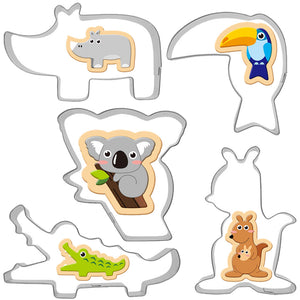 Animal Cookie Cutters Set - 5pcs - Stainless Steel - Crafty Cookie Cutters