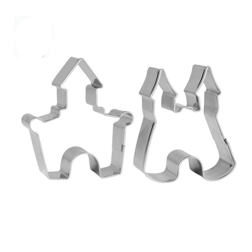 Castle Cookie Cutter Set - 2pcs - 6cm - Stainless Steel - Crafty Cookie Cutters