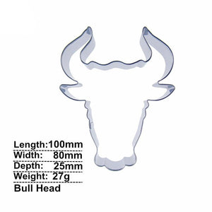 Bull Head Cookie Cutter - 10cm - Stainless Steel - Crafty Cookie Cutters
