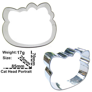 Cartoon Cat Cookie Cutter - 8cm - Stainless Steel - Crafty Cookie Cutters