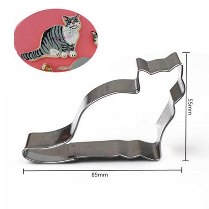 Cat Cookie Cutter Set - 3pcs - 8cm - Stainless Steel - Crafty Cookie Cutters