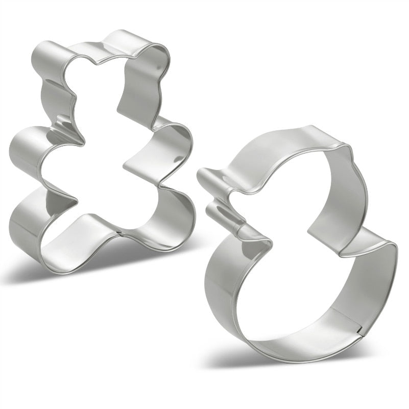 Duck and Teddy Cookie Cutter Set - 2pcs - Stainless Steel - Crafty Cookie Cutters
