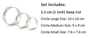 Round Cookie Cutter  - 3pcs - Stainless Steel - Crafty Cookie Cutters
