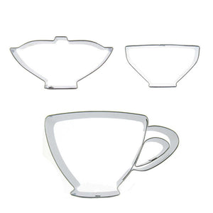Tea Set Cookie Cutter Set - 3pcs - Stainless Steel - Crafty Cookie Cutters