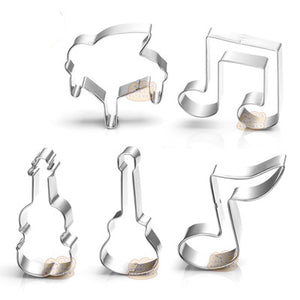 Music Cookie Cutter Set - 5pcs - Metal - Crafty Cookie Cutters