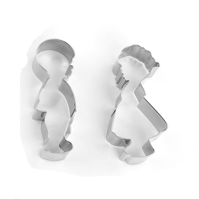 Boy and Girl Cookie Cutter Set - 2pcs - Stainless Steel - Crafty Cookie Cutters