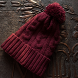 Burgundy Satin Lined Cable Knit Hat