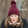 Burgundy Satin Lined Cable Knit Beanie