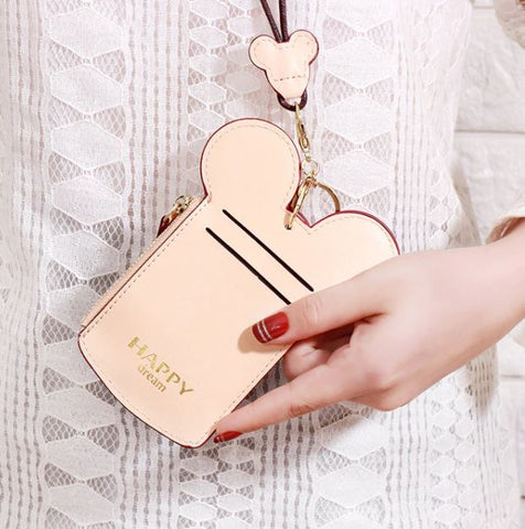 Minnie-Shaped Beige Card Holder